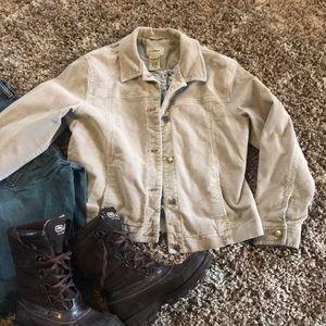 LL Bean lined khaki corduroy jacket M